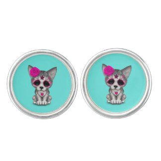 Pink Day of the Dead Wolf Cub Cuff Links