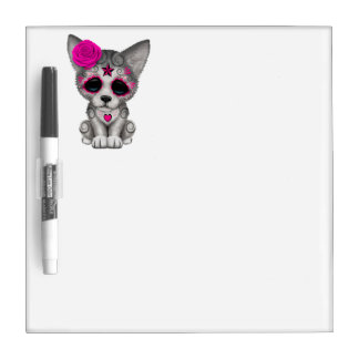 Pink Day of the Dead Wolf Cub Dry Erase Board