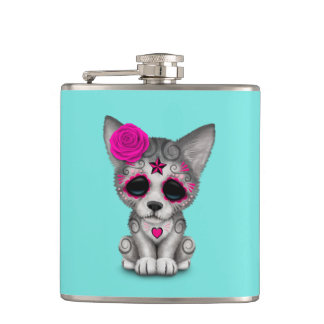 Pink Day of the Dead Wolf Cub Hip Flask