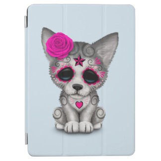 Pink Day of the Dead Wolf Cub iPad Air Cover