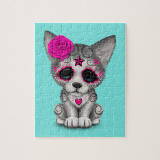 Pink Day of the Dead Wolf Cub Jigsaw Puzzle
