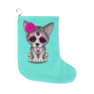 Pink Day of the Dead Wolf Cub Large Christmas Stocking