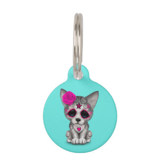 Pink Day of the Dead Wolf Cub Pet ID Tag