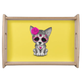 Pink Day of the Dead Wolf Cub Serving Tray