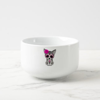 Pink Day of the Dead Wolf Cub Soup Mug