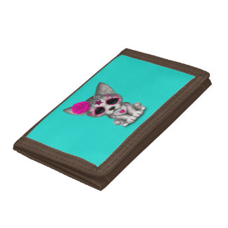 Pink Day of the Dead Wolf Cub Tri-fold Wallets