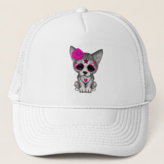 Pink Day of the Dead Wolf Cub Trucker Hat