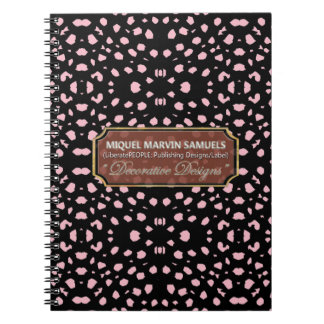Pink Decorative Dots Black Modern Notebook