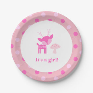 Pink Deer And Mushroom Baby Shower Paper Plate