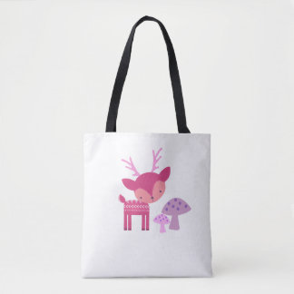 Pink Deer And Mushrooms Tote