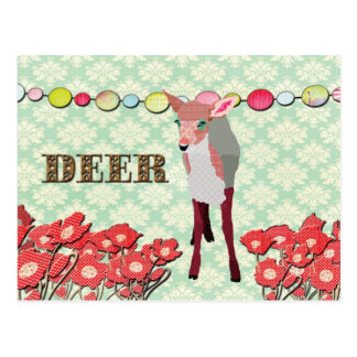 Pink Deer Mint Julep Damask  Postcard