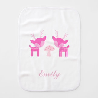Pink Deer Polka Dot Burp Cloth