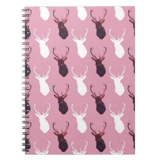 Pink Deer Seamless Pattern Notebooks