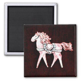 Pink Delicate Horse on Maroon Gifts Magnets