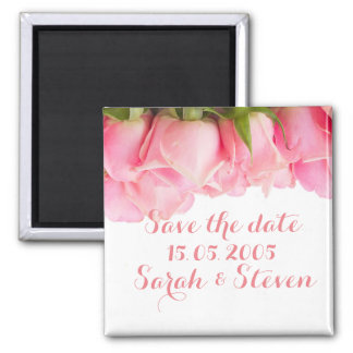 Pink Delicate Roses Save the date Refrigerator Magnet