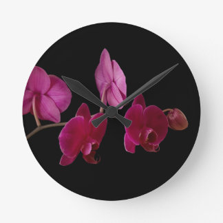 Pink Dendrobium Orchid - Customized Flowers Round Clock