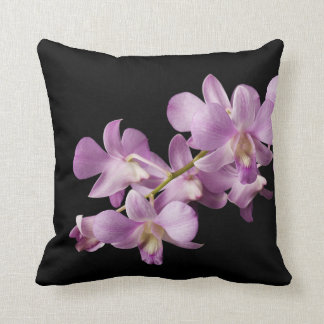 Pink Dendrobium Orchid Flower on Black - Orchids Cushion