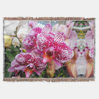 Pink Dendrobium Orchids Throw Blanket