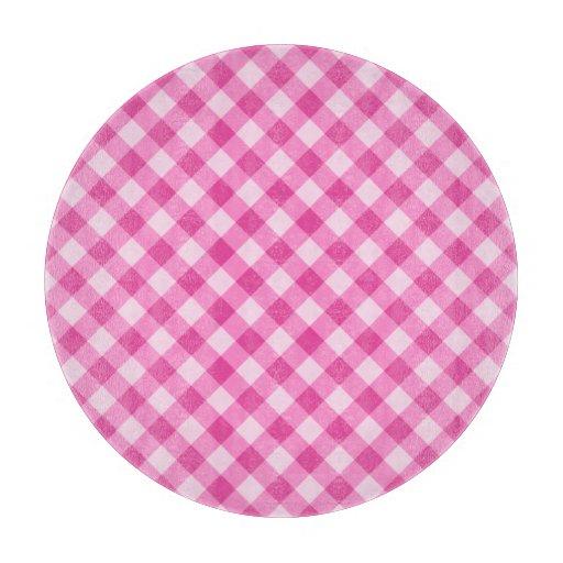 Pink, diagonal gingham pattern cutting boards