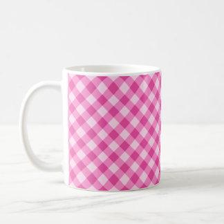 Pink, diagonal gingham pattern coffee mug