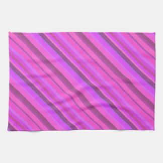 Pink diagonal stripes tea towel