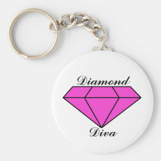 Pink Diamond Basic Round Button Key Ring
