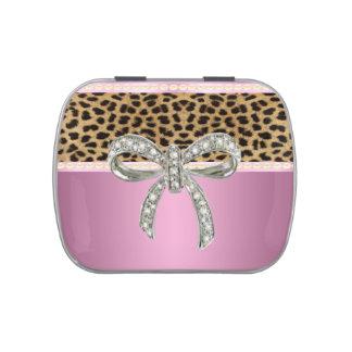 Pink Diamond Bow Leopard Candy Tin