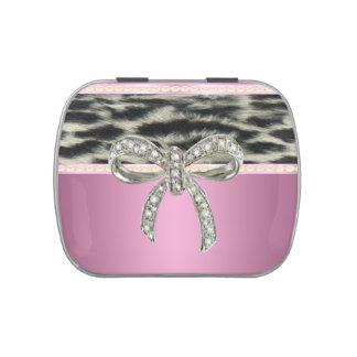 Pink Diamond Bow Snow Leopard Candy Tin