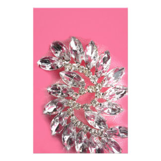 Pink Diamond Jewel Add Text Pick Color Custom Stationery