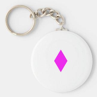 Pink Diamond Basic Round Button Key Ring