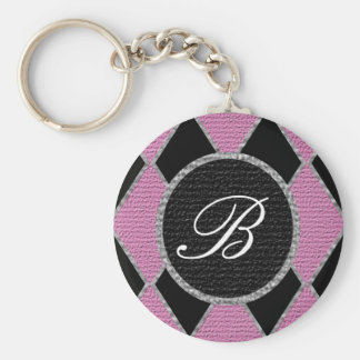 Pink diamond monogram sparkle key chain