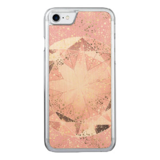 Pink Diamond on Light Pastel with Gold Sparkle Carved iPhone 7 Case