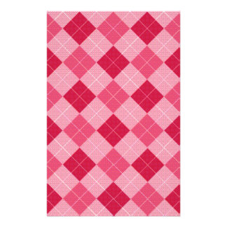 Pink Diamond Plaid Customized Stationery