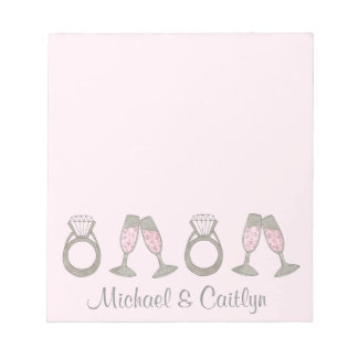 Pink Diamond Ring Champagne Wedding Bride Notepad