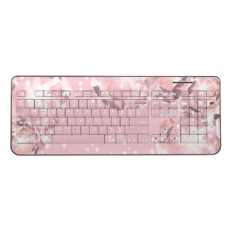Pink Diamond Sparkle on Light Pastel Brilliant Cut Wireless Keyboard