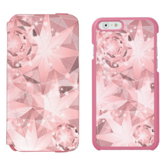Pink Diamond Sparkle on Light Pastel Brilliant Incipio Watson™ iPhone 6 Wallet Case