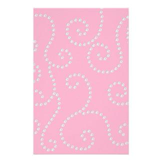Pink diamond swirls stationery design
