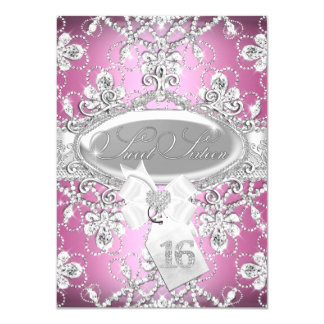 Pink Diamond Tiara Princess Sweet 16 Invite