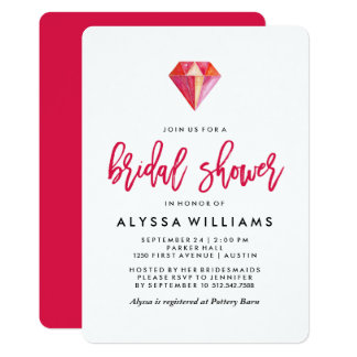 Pink Diamond | Watercolor Gem Bridal Shower Card