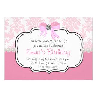 Pink Diamonds and Pearls Damask Invitation
