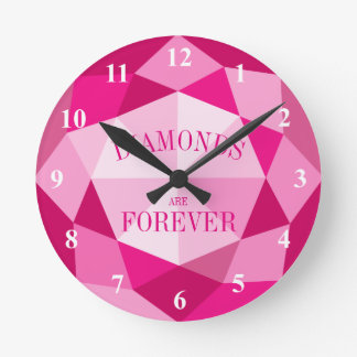 Pink diamonds are forever gemstone wall clock
