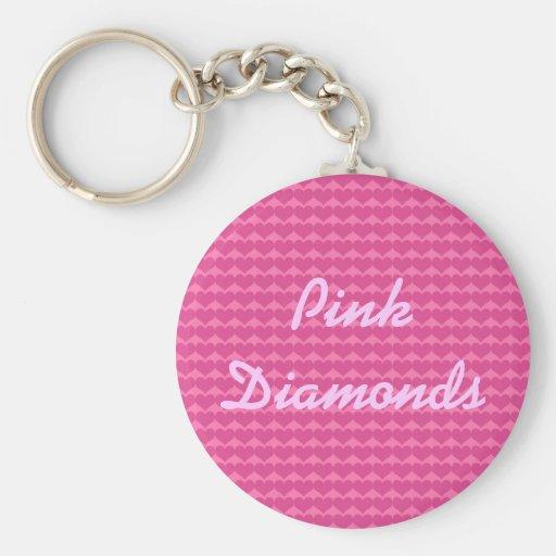 Pink Diamonds Hearts Keychain