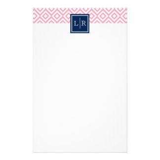 Pink Diamonds Pattern and Monogram Stationery