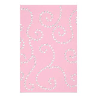 Pink diamonds swirls personalised stationery