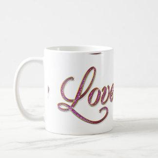 Pink diamons with gold Love tag Basic White Mug