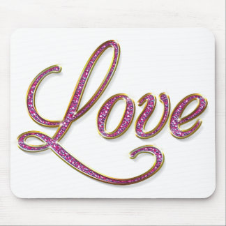 Pink diamons with gold Love tag Mouse Pad