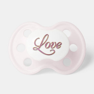 Pink diamons with gold Love tag Pacifiers