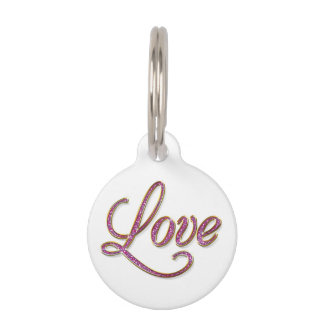 Pink diamons with gold Love tag Pet Tag