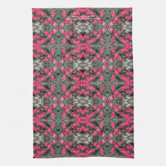 Pink Dianthus and Rock kitchen towel