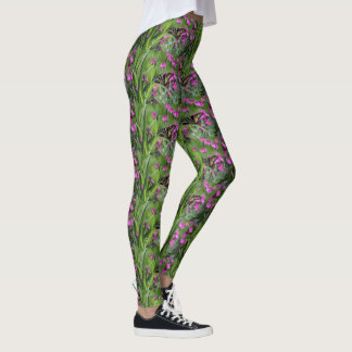 Pink Dianthus & Yellow Swallowtail Butterfly Leggings